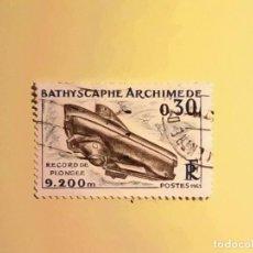Sellos: FRANCIA 1963 - SUBMARINO - BATHISCAPHE ARCHIMEDE.. Lote 128137039