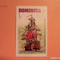 Sellos: DOMINICA - BARCOS - BICENTENARIO REVOLUCIÓN AMERICANA 1776-1976 - ENGLISH THREE-DECKER 1782.. Lote 128139727