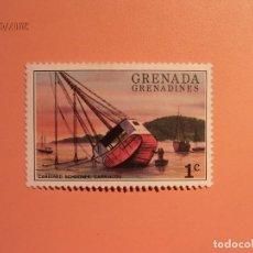 Sellos: GRENADA - GRANADINES - BARCOS - CAREENED SCHOONER CARRIACOU.. Lote 128139955