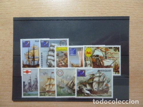 PARAGUAY 1980 IVERT 1777/83 Y AEREO 843/4 *** EXPOSICIONES FILATÉLICAS - BARCOS (Sellos - Temáticas - Barcos)