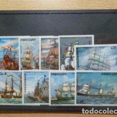 Sellos: PARAGUAY 1976 IVERT 1509/13 Y AEREO 735/7 *** PINTURAS DE ANTIGUOS BARCOS. Lote 130905432