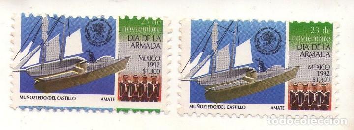 MEXICO 1992, DIA DE LA ARMADA, DOS SELLOS (UNO CON ERROR, DESPLAZADO) (Sellos - Temáticas - Barcos)