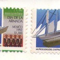 Sellos: MEXICO 1992, DIA DE LA ARMADA, DOS SELLOS (UNO CON ERROR, DESPLAZADO). Lote 133465614