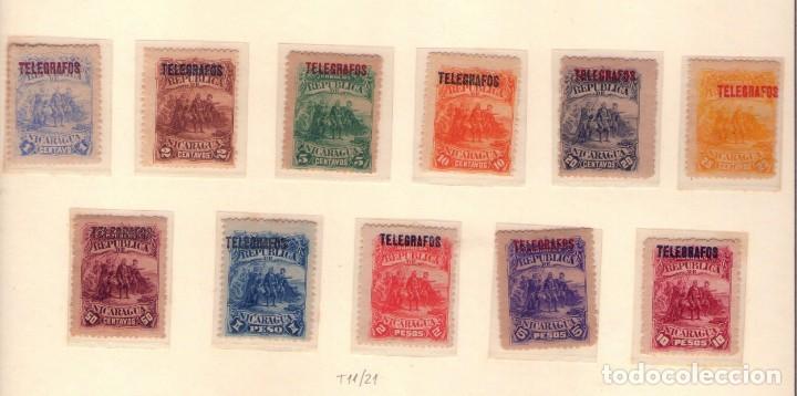 NICARAGUA T11-21. (SOBRECARGA TELEGRAFOS). CRISTOBAL COLON. (Sellos - Temáticas - Barcos)
