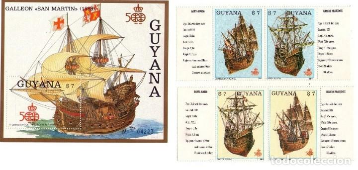 GUYANA 1988, 1769 MS-MT-MU-MV Y HB... CRISTOBAL COLON (Sellos - Temáticas - Barcos)