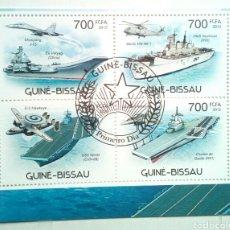 Sellos: PORTAAVIONES HOJA BLOQUE DE SELLOS USADOS DE GUINEA BISSAU. Lote 133618038
