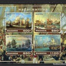 Sellos: RWANDA 2017 *** BATALLAS NAVALES - BARCOS. Lote 133672326