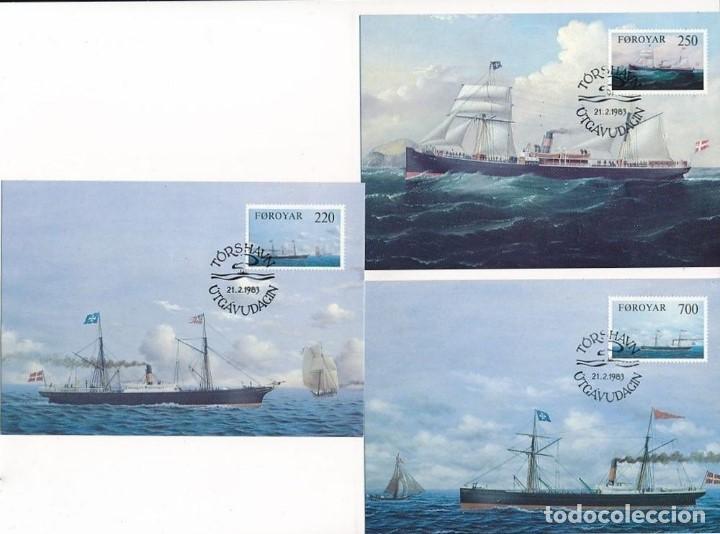 ISLAS FEROE 1983 Y&T 73/75 3 TARJETAS MÁXIMA SERIE COMPLETA (Sellos - Temáticas - Barcos)