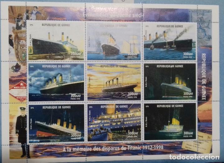 REPUBLICA DE GUINEA - HOJA BLOQUE CONMEMORATIVA A LA DESAPARICION DEL TITANIC - BARCOS- BOATS (Sellos - Temáticas - Barcos)