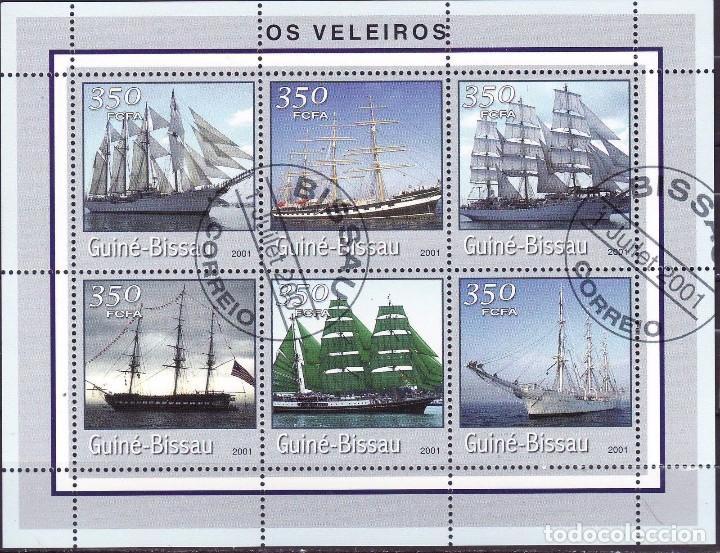 GUINEA BISSAU 2001 HOJA BLOQUE SELLOS BARCOS DE NAVEGACION- BOATS- VOILIERS - BARCO - SHIPS- VELEROS (Sellos - Temáticas - Barcos)