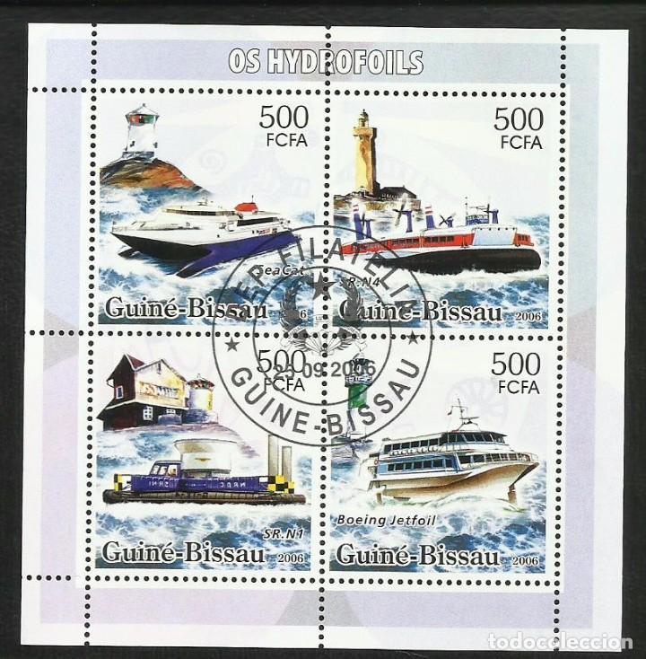 GUINEA BISSAU 2006 HOJA BLOQUE SELLOS FAROS Y BARCOS DE NAVEGACION- BOATS- VOILIERS - BARCO -FARO (Sellos - Temáticas - Barcos)