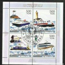 Sellos: GUINEA BISSAU 2006 HOJA BLOQUE SELLOS FAROS Y BARCOS DE NAVEGACION- BOATS- VOILIERS - BARCO -FARO. Lote 135580322