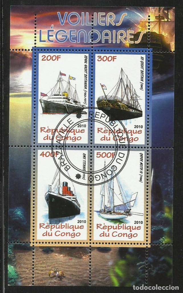 CONGO 2010 HOJA BLOQUE SELLOS BARCOS LEGENDARIOS - BOATS- VELEROS - BARCO - SCHIFFE- TITANIC (Sellos - Temáticas - Barcos)