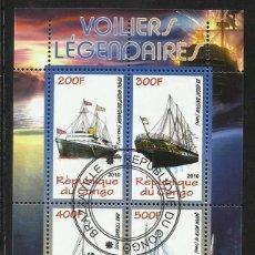 Sellos: CONGO 2010 HOJA BLOQUE SELLOS BARCOS LEGENDARIOS - BOATS- VELEROS - BARCO - SCHIFFE- TITANIC . Lote 135580822