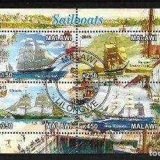 Sellos: MALAWI 2010 HOJA BLOQUE BARCOS DE VELA - SAILBOATS - VELEROS- BARCO - NAVEGACION . Lote 135581906