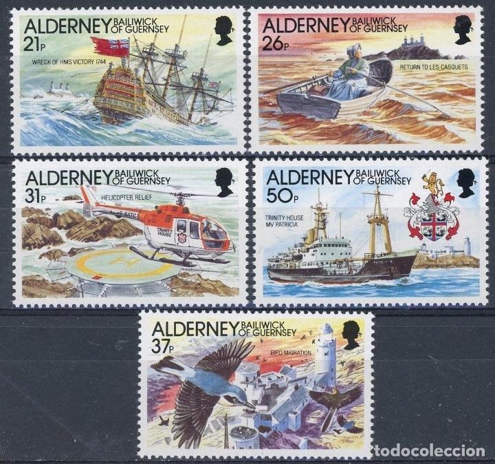 ALDERNEY 1991 IVERT 49/53 *** HISTORIA DEL FARO DE LA CASQUETS - BARCOS Y FAROS (Sellos - Temáticas - Barcos)