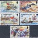 Sellos: ALDERNEY 1991 IVERT 49/53 *** HISTORIA DEL FARO DE LA CASQUETS - BARCOS Y FAROS. Lote 136047682