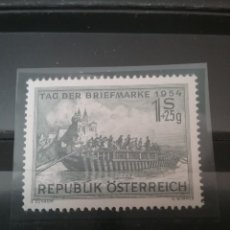 Sellos: SELLOS AUSTRIA (OSTERREICH) NUEVOS/1954/DIA DEL SELLOS/BARCA REMOS/BARCO/TRANSPORTE/TORRE/CASTILLO//. Lote 140084892