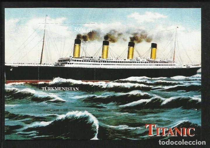 TURKMENISTAN HOJA BLOQUE CONMEMORATIVA DEL TITANIC- BARCOS- BOATS (Sellos - Temáticas - Barcos)