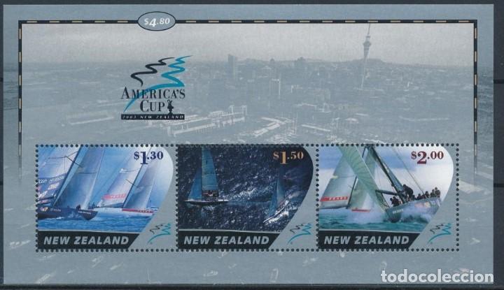 SELLOS NUEVA ZELANDA 2002 COPA AMÉRICA DE VELA BARCOS (Sellos - Temáticas - Barcos)