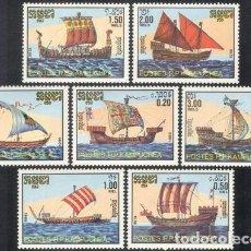 Sellos: CAMBOYA - KAMPUCHEA 1986 IVERT 639/45 *** HISTORIA DE LOS TRANSPORTES MARITIMOS - BARCOS. Lote 142076774