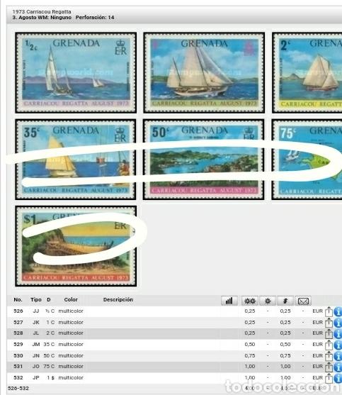 Sellos: Sellos Granada (Grenada) nuevos/1973-1976/Regatas/campeonato/Barcos/transporte/velero/crucero/buque/ - Foto 3 - 142810990
