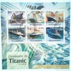 Sellos: BARCO EL TITANIC HOJA BLOQUE DE SELLOS USADOS DE MOZAMBIQUE. Lote 144935368