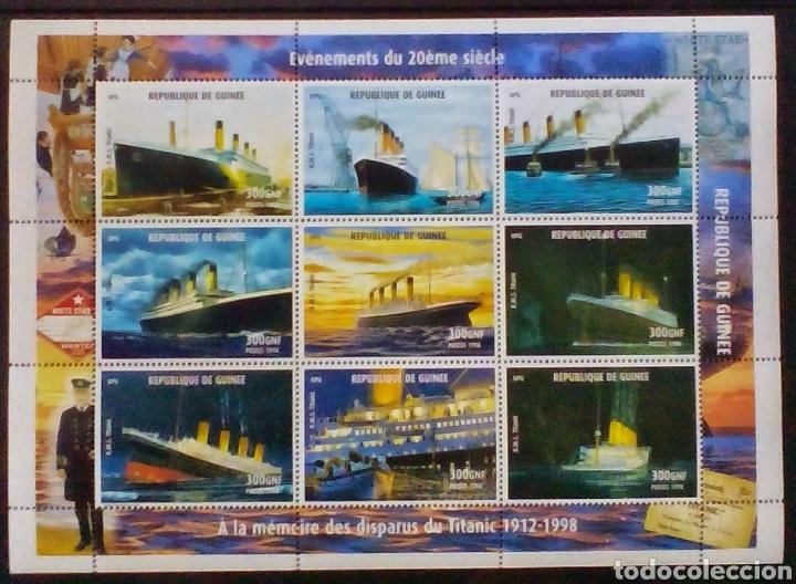 BARCO TITANIC HOJA BLOQUE DE SELLOS NUEVOS DE GUINEA (Sellos - Temáticas - Barcos)
