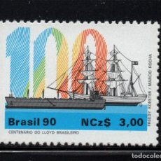 Sellos: BRASIL 1953** - AÑO 1990 - BARCOS - CENTENARIO DE LA COMPAÑIA DE NABEGACION LLOYD BRASILEIRA. Lote 147026758