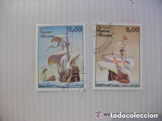 LOTE DE 2 SELLOS DE GUINEA BISSAU : BARCOS ANTIGUOS, CARABELA. (Sellos - Temáticas - Barcos)