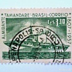 Sellos: ANTIGUO SELLO POSTAL BRASIL 1958, 3,30 CR, 150 ANIVERSARIO MARINA OFICIAL TAMANDARE, USADO *. Lote 150861194