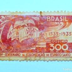 Sellos: SELLO POSTAL BRASIL 1935, 300 RS, CARAVELA PORTUGUESA , USADO. Lote 150904426