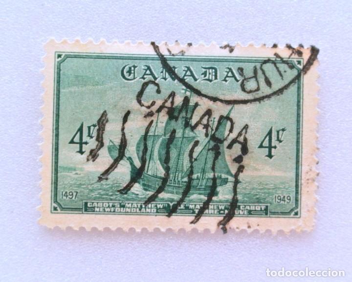 SELLO POSTAL CANADA 1949, 4 CENTS ,BARCO DE JONH VABOT : MATTHEW, USADO (Sellos - Temáticas - Barcos)