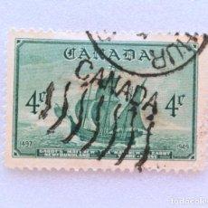 Sellos: SELLO POSTAL CANADA 1949, 4 CENTS ,BARCO DE JONH VABOT : MATTHEW, USADO. Lote 153011834