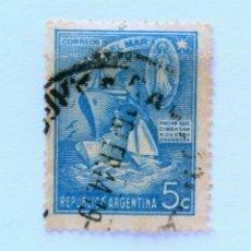 Sellos: SELLO POSTAL ARGENTINA 1944, 5 C, BARCOS, SEMANA DEL MAR, CONMEMORATIVO, USADO. Lote 153704146