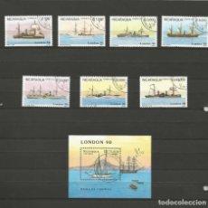 Sellos: NICARAGUA - LONDON 90 - COLECCIÓN DE 8 SELLOS BARCOS INCLUYE EL BLOQUE - COMPLETA. Lote 155323210