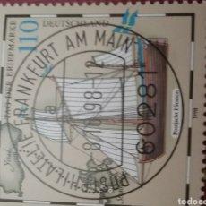 Sellos: SELLOS ALEMANIA, R. FEDERAL MTDO/1998/DIA DEL SELLO/BARCO/EL YATE POSTAL/VELERO/ISLAS/MAPA/CARTA. Lote 155926730