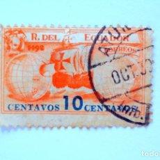Sellos: SELLO POSTAL ECUADOR 1935, 10 CTVS . BARCO CARAVELA DE COLUMBUS Y GLOBO TERRAQUEO, USADO. Lote 156743854