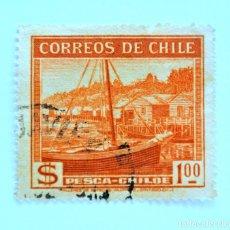 Sellos: SELLO POSTAL CHILE 1938 ,1 $. BARCO DE PESCA , PESCA - CHILOE, USADO. Lote 157183678
