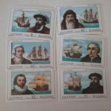 Sellos: SELLOS R. BULGARIA NUEVOS/1990/EXPLORADORES/BARCOS/VELEROS/NAVIOS/COOK/COLON/MAGALLANES/GAMA/. Lote 162361717