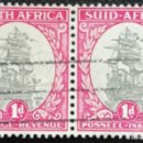 Sellos: 1926. BARCOS. SUDÁFRICA. 17. BARCO 'DROMMEDARIS', MANDADO POR J.V. RIEBEECK. SELLOS EN PAREJA. USADO. Lote 167530992