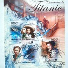 Sellos: BARCO EL TITANIC HOJA BLOQUE DE SELLOS USADOS DE REPÚBLICA CENTROAFRICANA. Lote 170441322