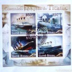 Sellos: EL TITANIC HOJA BLOQUE DE SELLOS USADOS DE GUINEA BISSAU. Lote 173635757