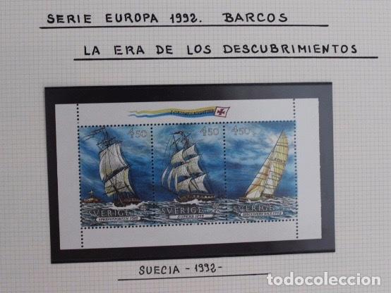 TRIPTICO SELLOS DE SUECIA SERIE EUROPA 1992 BARCOS DE VELA (Sellos - Temáticas - Barcos)