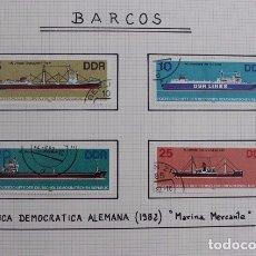 Sellos: SELLOS BARCOS MARINA MERCANTE DDR 1982. Lote 173911889