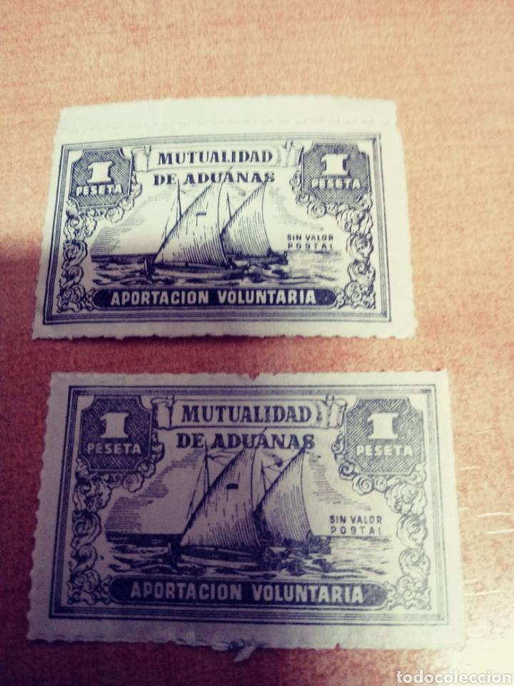 2 SELLOS DE 1 PTA MUTUALIDAD DE ADUANAS (Sellos - Temáticas - Barcos)