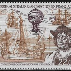 Sellos: TAAF TERRITORIO ANTARTICO FRANCES 1992 Y&T 122 AEREO** BARCOS COLON GLOBO. Lote 176409079
