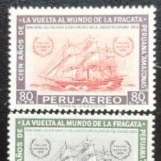 Timbres: 1961. BARCOS. PERÚ. 164, 165. CENTENARIO VUELTA AL MUNDO DE LA FRAGATA PERUANA 'AMAZONAS'. NUEVO.. Lote 181459936