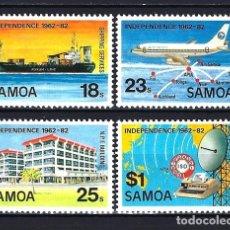 Sellos: 1982 SAMOA ANIVERSARIO INDEPENDENCIA - TRANSPORTES BARCO AVIÓN TELECOMUNICACIONES - NUEVOS MNH**. Lote 182464611
