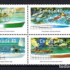 Sellos: 1991 CANADÁ BARCO VELERO PIRAGUA KAYAK CANOA YVERT 1191/1194 - NUEVOS MNH** . Lote 182467001